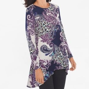 Chico's Purple Paisley Button Back Tunic